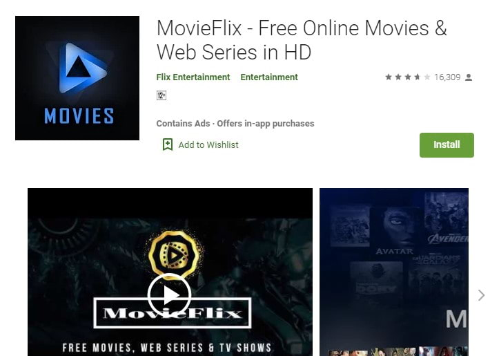 MovieFlix: Now watching any movie in just one click
