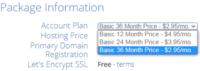 Bluehost Hosting Package Information